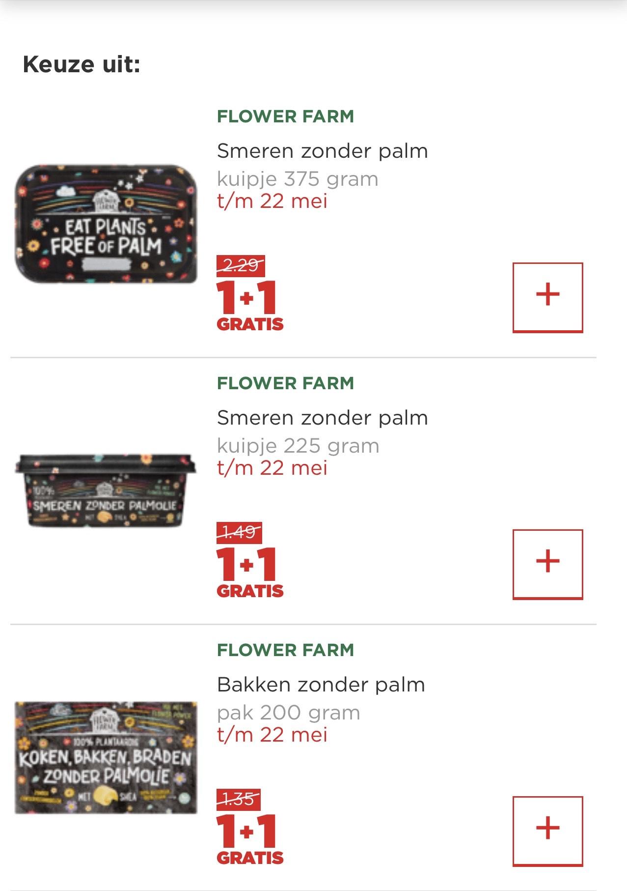 Flower farm 1+1 bij Plus