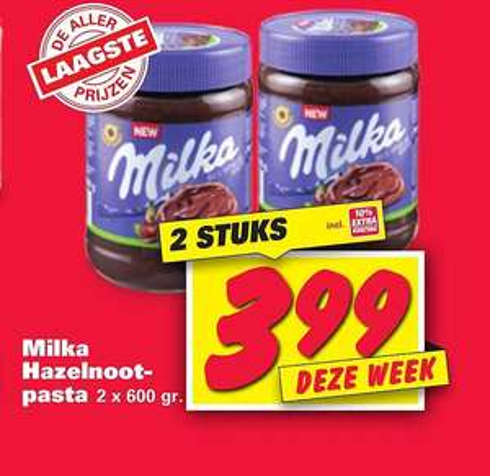 2 x Milka Hazelnootpasta 600 gram voor 3,99 bij Nettorama