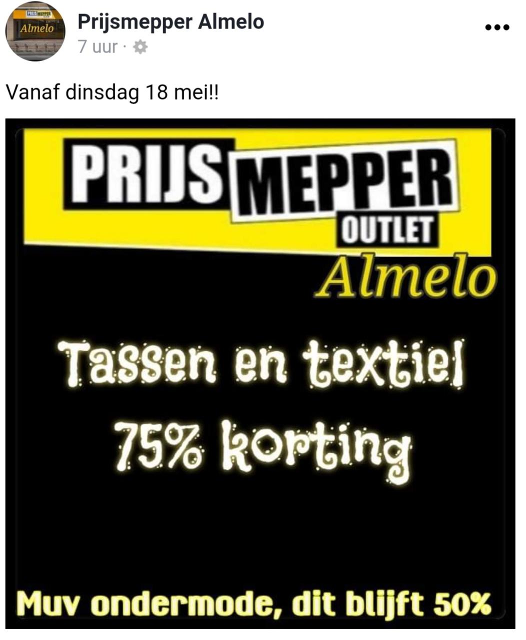 Prijsmepper outlet Almelo Tassen en textiel 75% korting Lokaal