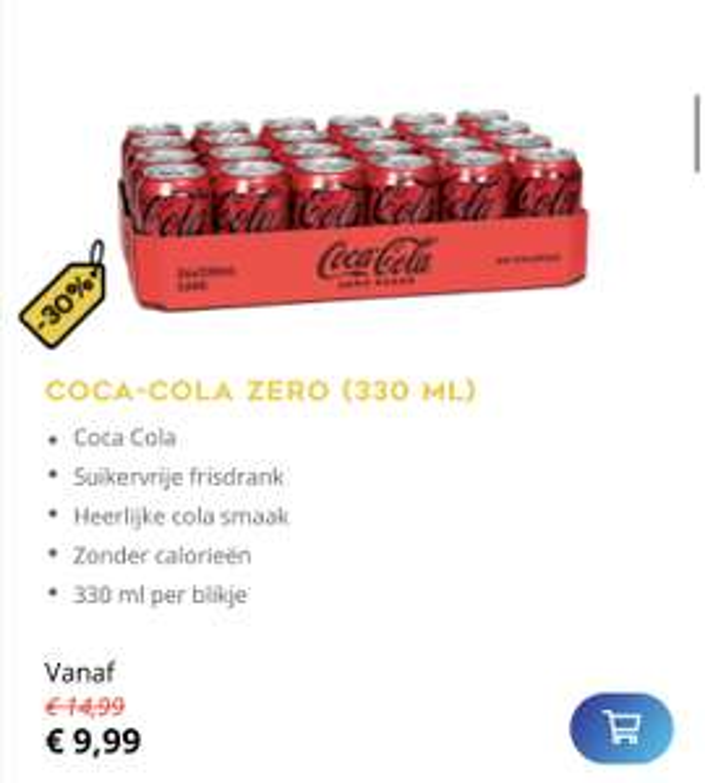 Coca Cola Zero blikjes 24 pack voor 9,99 euro