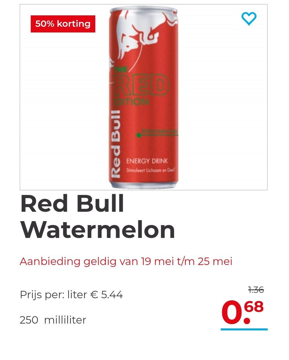 Red Bull Watermeloen met 50% korting!