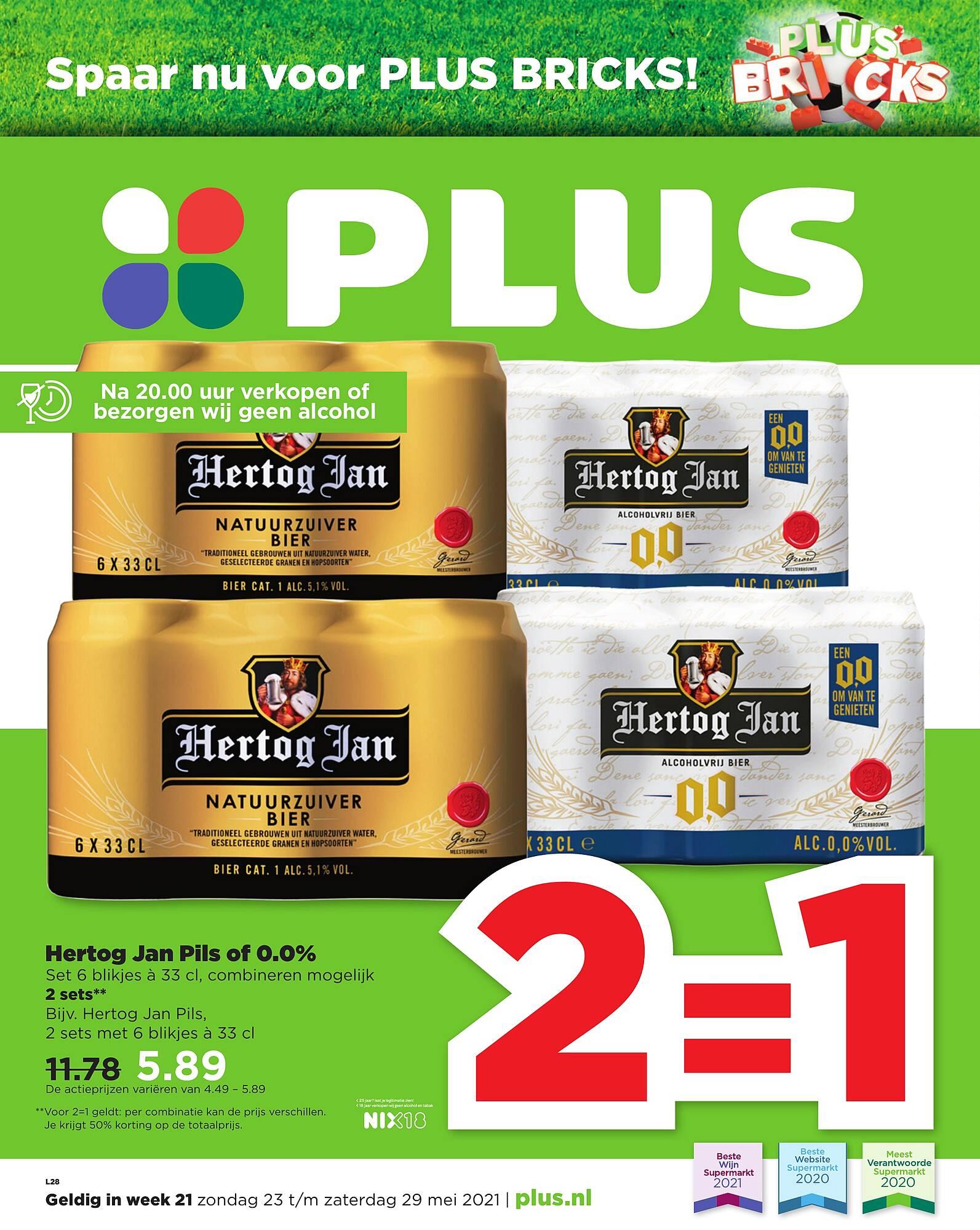 2=1 Hertog Jan Pils of 0.0% @ Plus