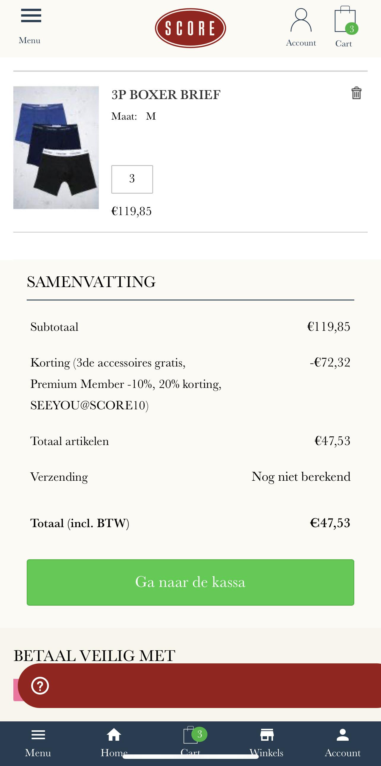 9 stuks Calvin Klein Boxershorts van €120,00 voor € 47,53 bij Score
