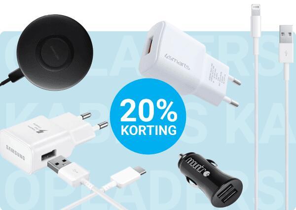 20% korting op alle kabels en opladers @ GSMpunt