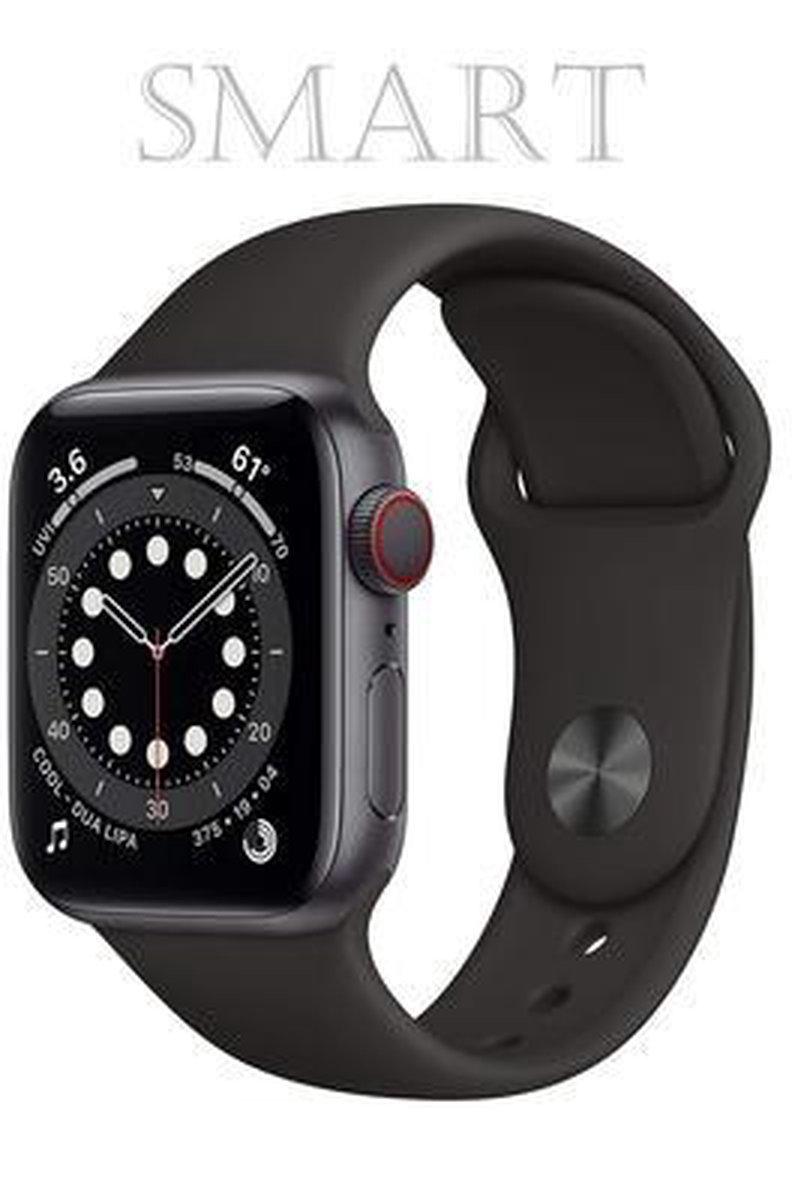 Apple Watch Series 6 44mm grijs met zwart bandje cellular