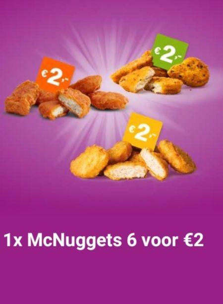 McDonald's app coupon 6 Mc'nuggets of 6 Spicy Mc'nuggets of 6 Veggie Mc'nuggets voor 2 euro