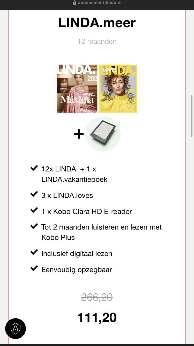 Linda jaar abonnement met kobo Clara e-reader