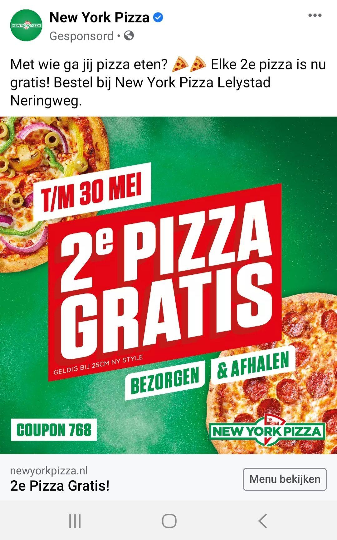 New York pizza - 2e pizza gratis