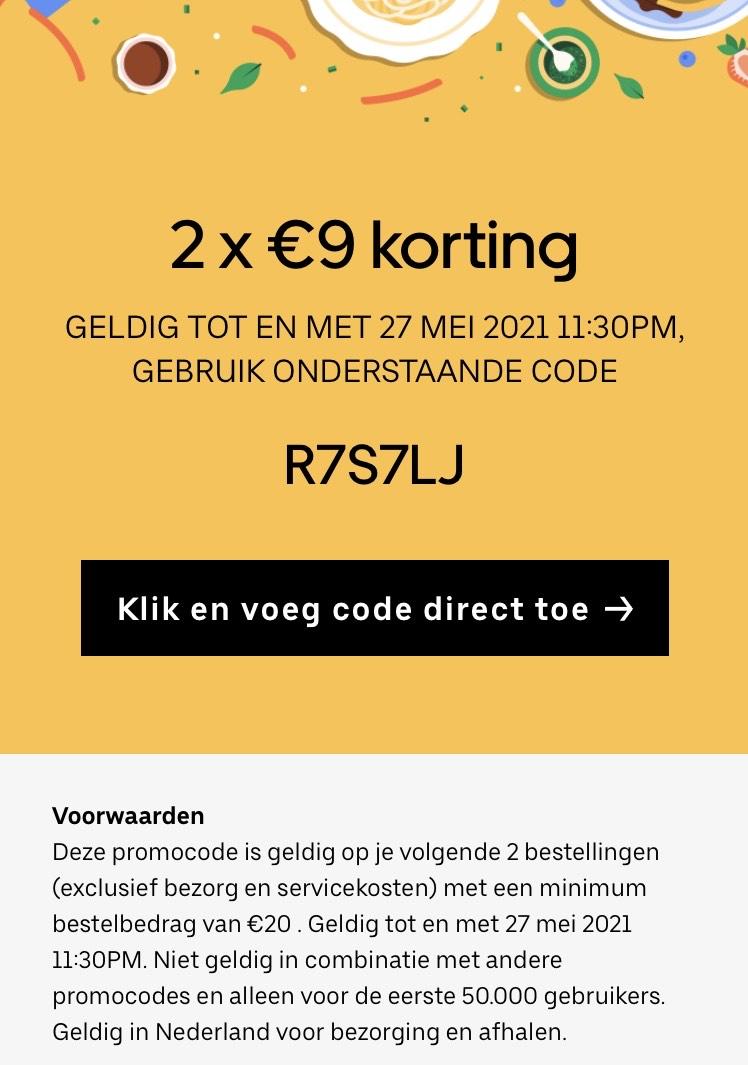 Ubereats €9 korting op een bestelling vanaf €20