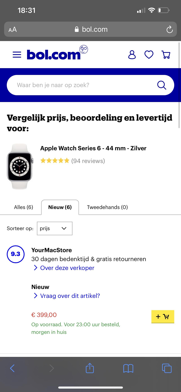 Apple Watch 6 44mm zilver met witte band
