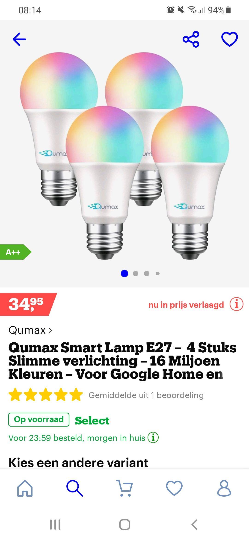 Qumax smart lamp E27 4st. Voor Google Home en andere