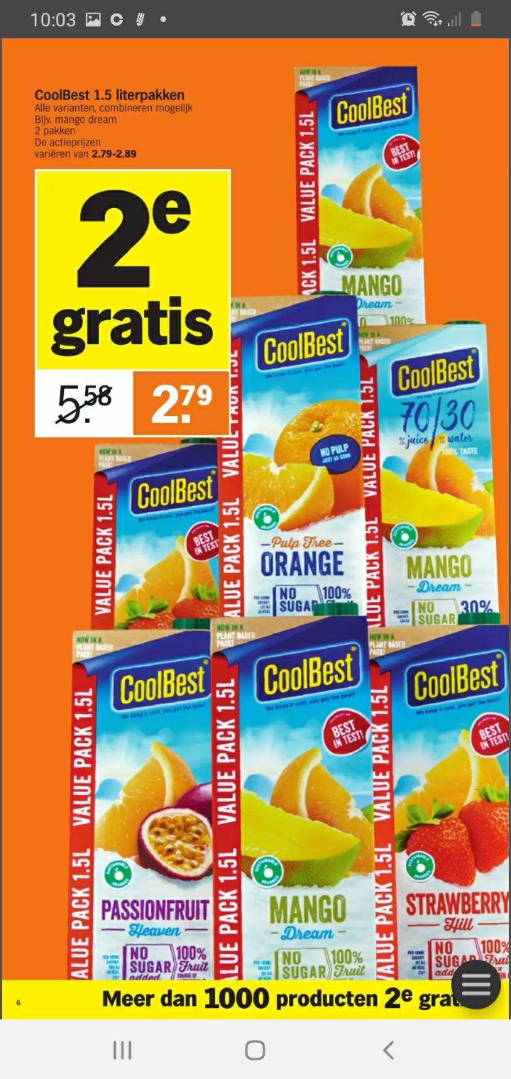 Coolbest 1.5L 2de gratis Albert Heijn