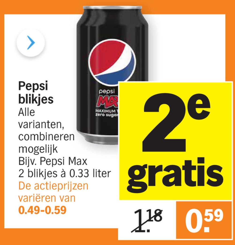 Blikken Pepsi, tweede gratis