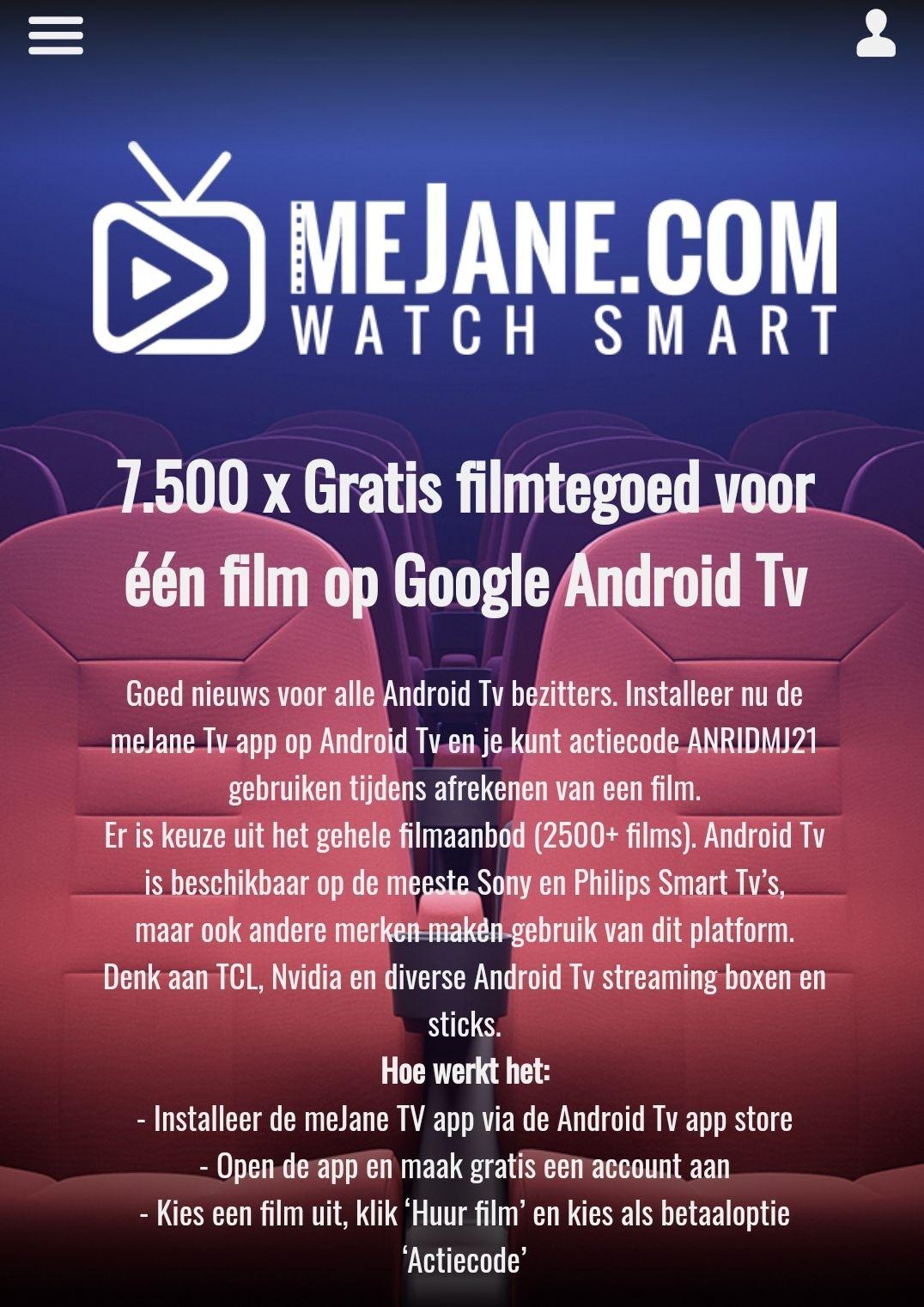 7.500 x Gratis filmtegoed voor één film op Google Android Tv