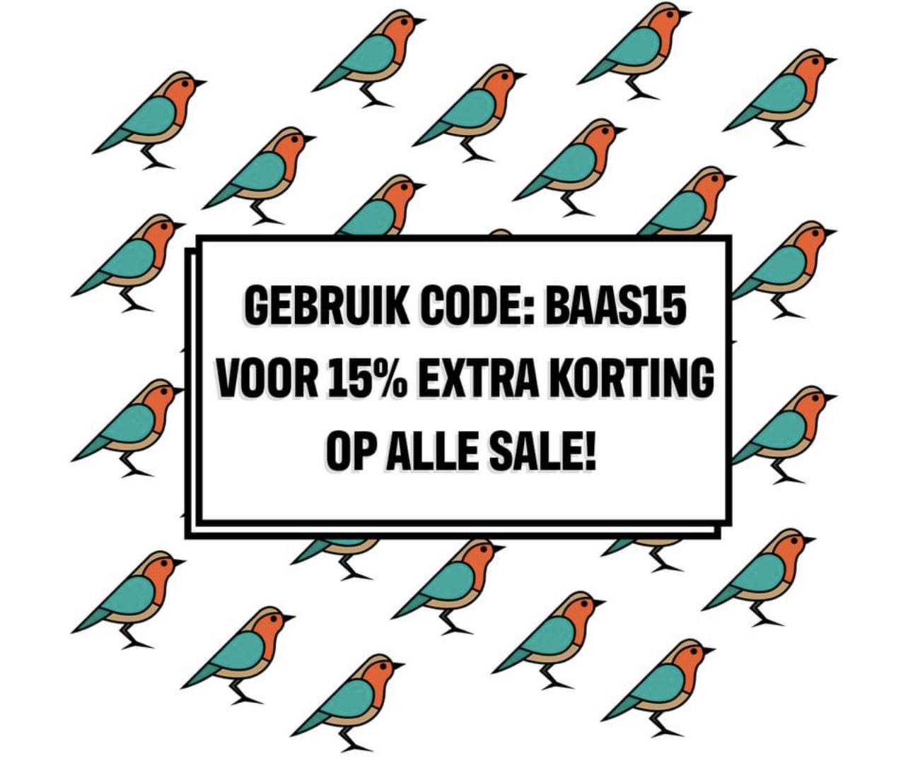 15% korting op SALE bij Sneakerbaas
