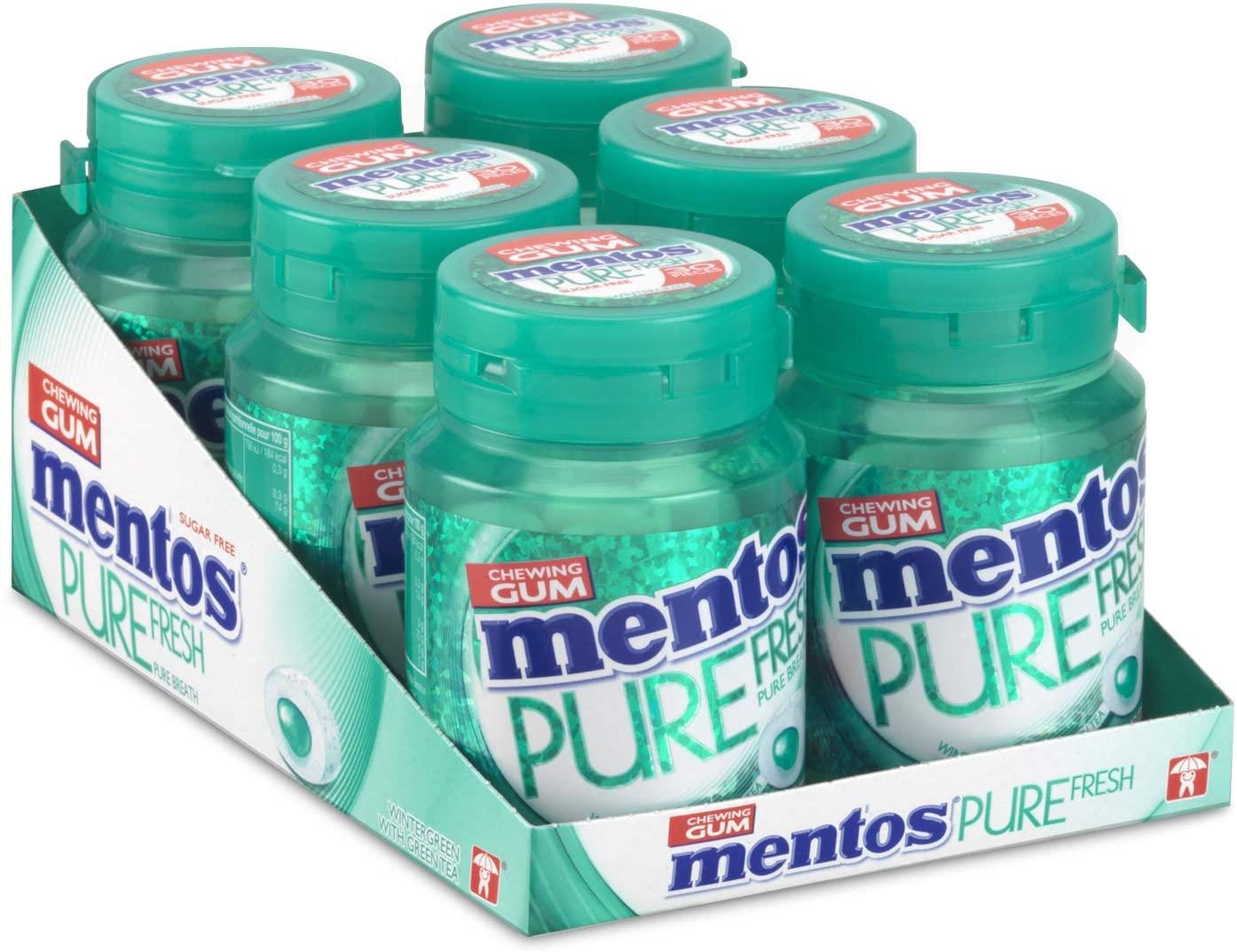 Mentos Gum Pure Fresh Wintergreen – erpakking van 6 potjes met 30 kauwgoms