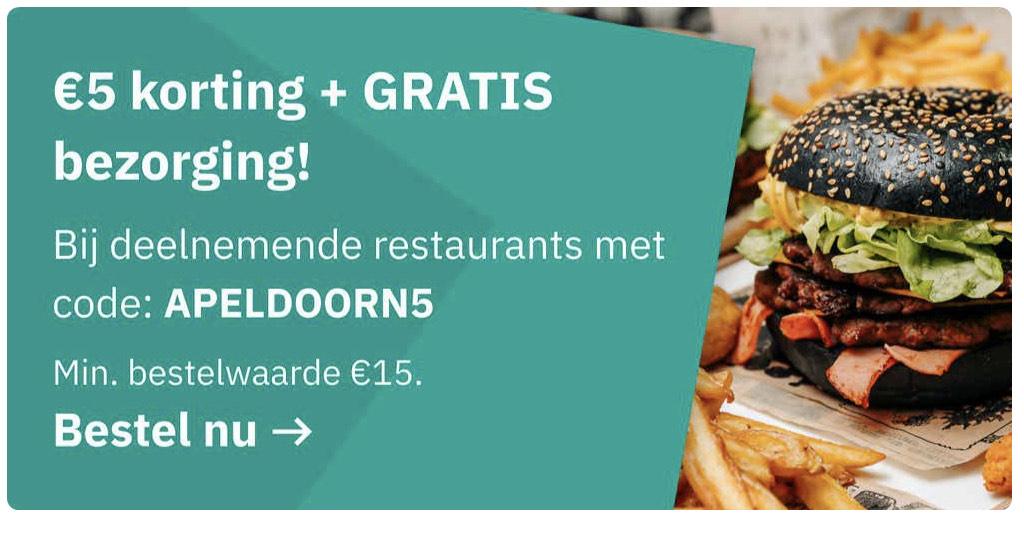 Apeldoorn - Deliveroo: 50 euro korting (10 * 5 euro korting) en gratis bezorging (50% korting bij een maximale bestel waarde van 15 euro)