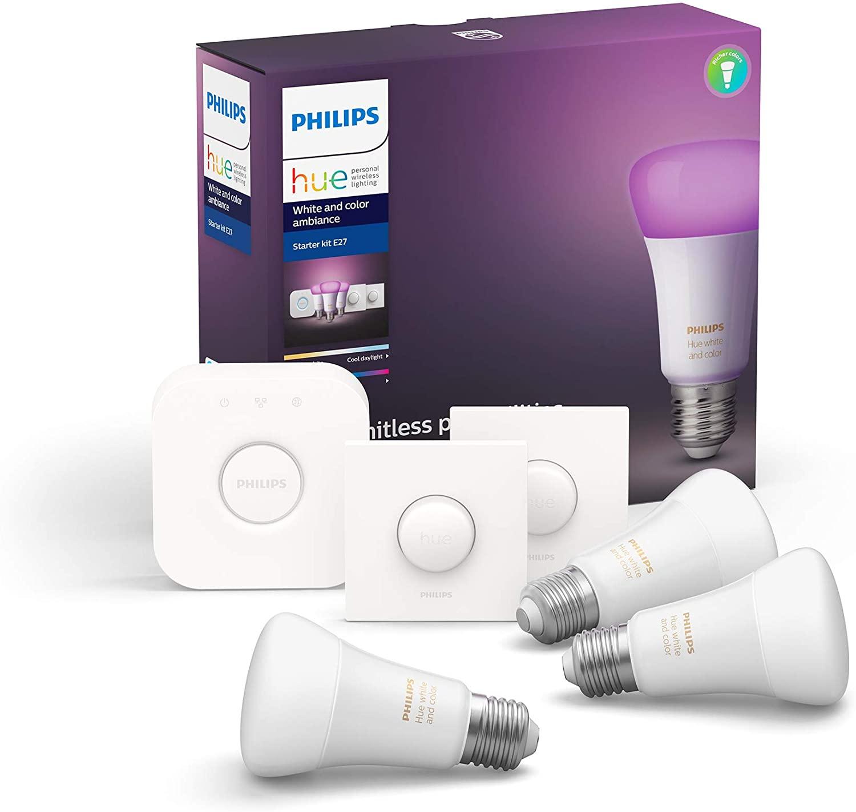 Philips Hue 1 Bridge + 3 E27 lampen + 2 smart buttons