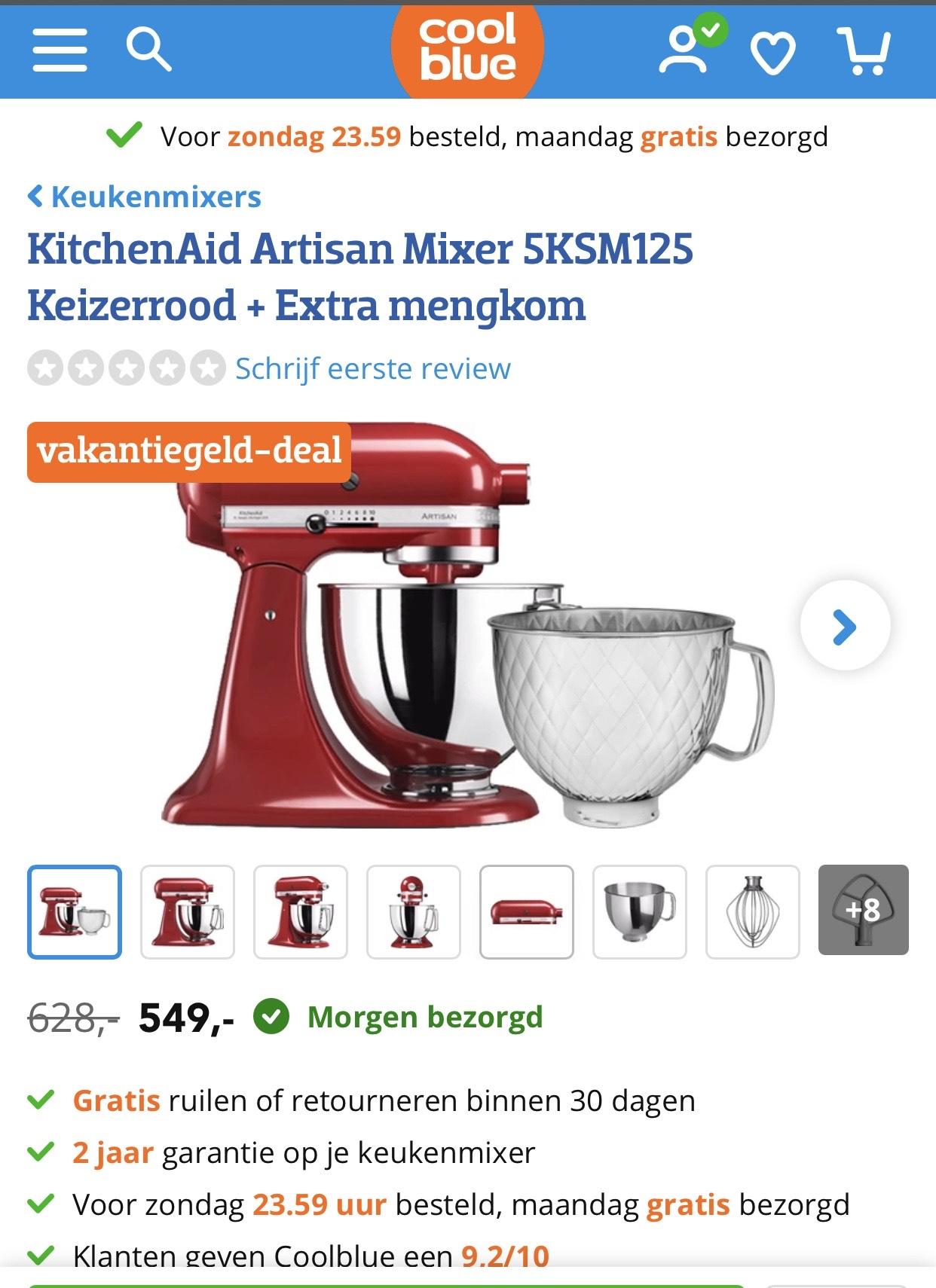 KitchenAid Artisan Mixer 5KSM125 Keizerrood + Extra mengkom