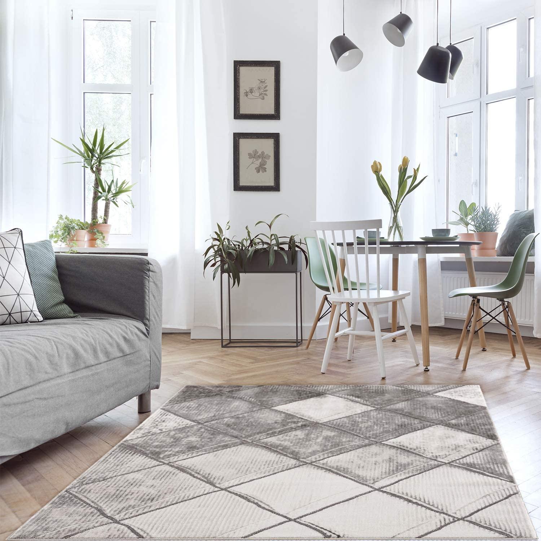 Tapijt woonkamer - Boho design grijs - 160x230cm modern Scandinavisch - ruitpatroon - laagpolig