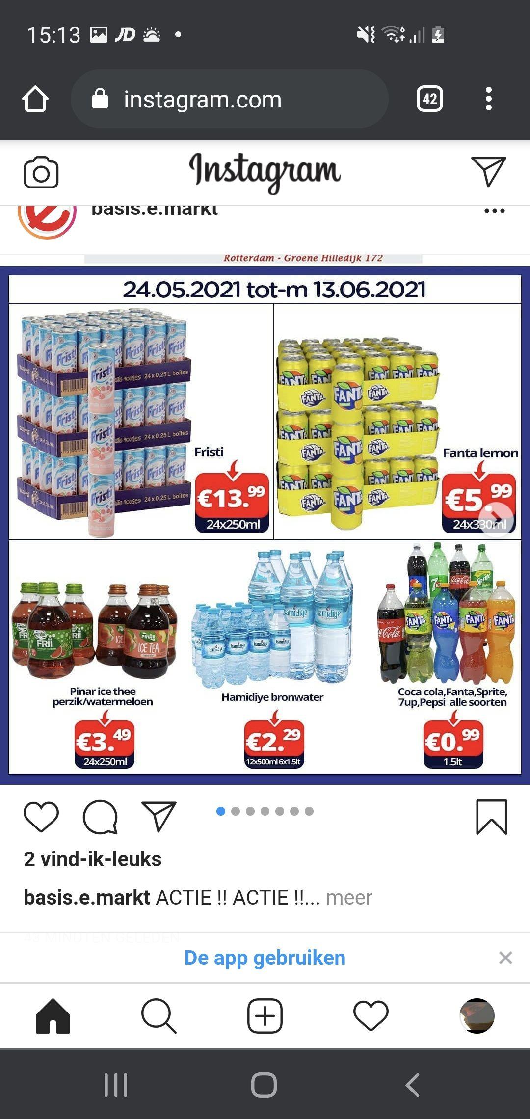 Lokaal Rotterdam Basis e markt 24×330ml Fanta 5.99 en watermeloen/perzik drank 24×250ml € 3.49