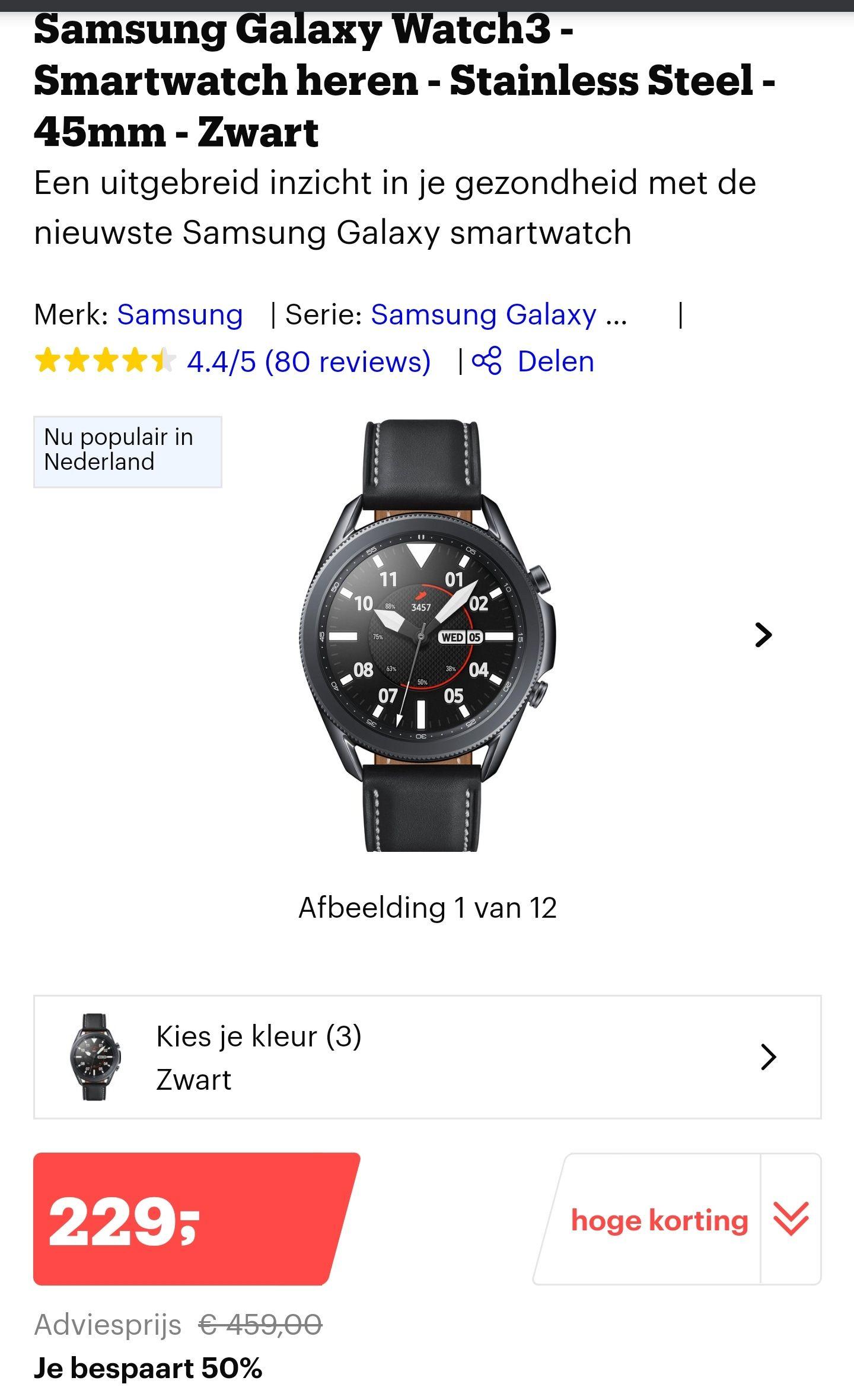 Samsung Galaxy watch 3 €179 na cashback @Bol.com