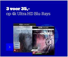 3 voor 35,- op 4k Ultra HD Blu-Rays bij Bol.com