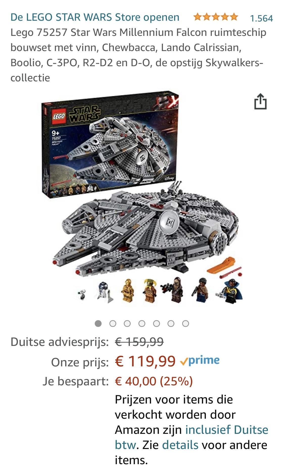 Lego 75257 Star Wars Millennium Falcon ruimteschip (icm Prime -> gratis verzending, anders € 3,49)