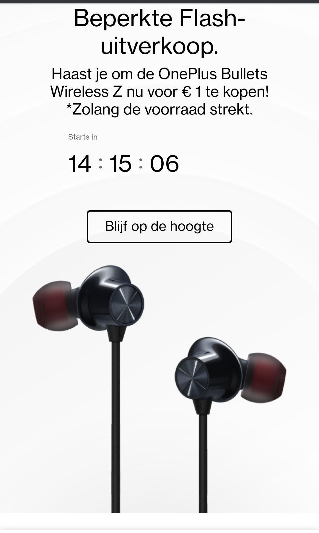 OnePlus Bullets Wireless Z @oneplus store begint om 12:00