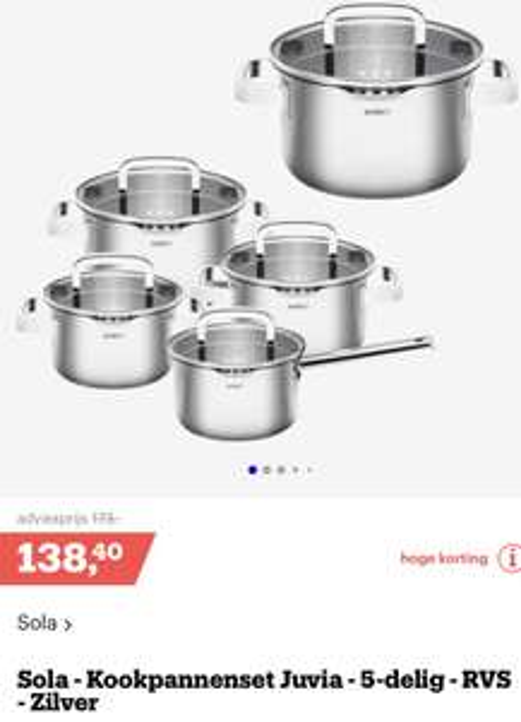 Sola kookpannenset Juvia - 5 delig - RVS - zilver