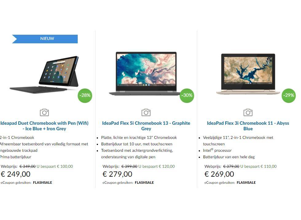 24% tot 30% korting op verschillende Lenovo laptops & chromebooks @ Lenovo