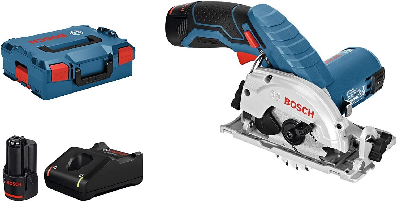 Bosch Blauw 12V Cirkelzaag GKS 12V-26 (2X 3,0 Ah Accu + Lader + L-Boxx, zaagblad 85mm)