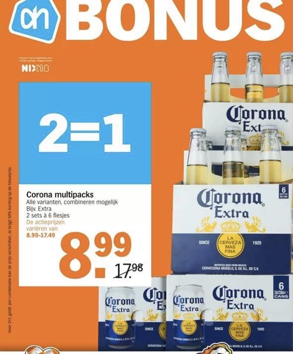 Corona bier 2 = 1 bij de AH