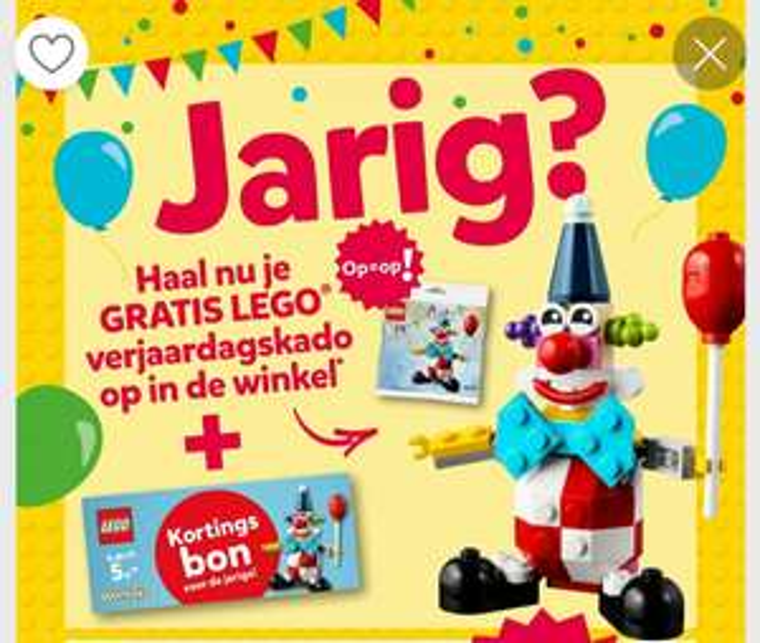 Jarig? Gratis Lego creator 30565 Clown polybag + €5 kortingsbon
