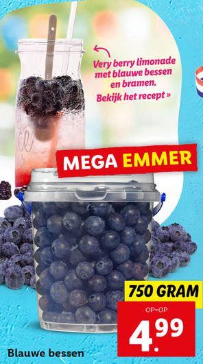 Lidl: Zoete blauwe besssen 750g voor 3 eur (4 eur/kg bessen). Herkomst Spanje.
