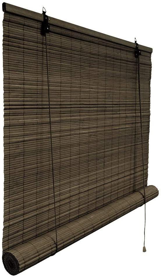 Rolgordijn bamboe 150 x 160 donkerbruin
