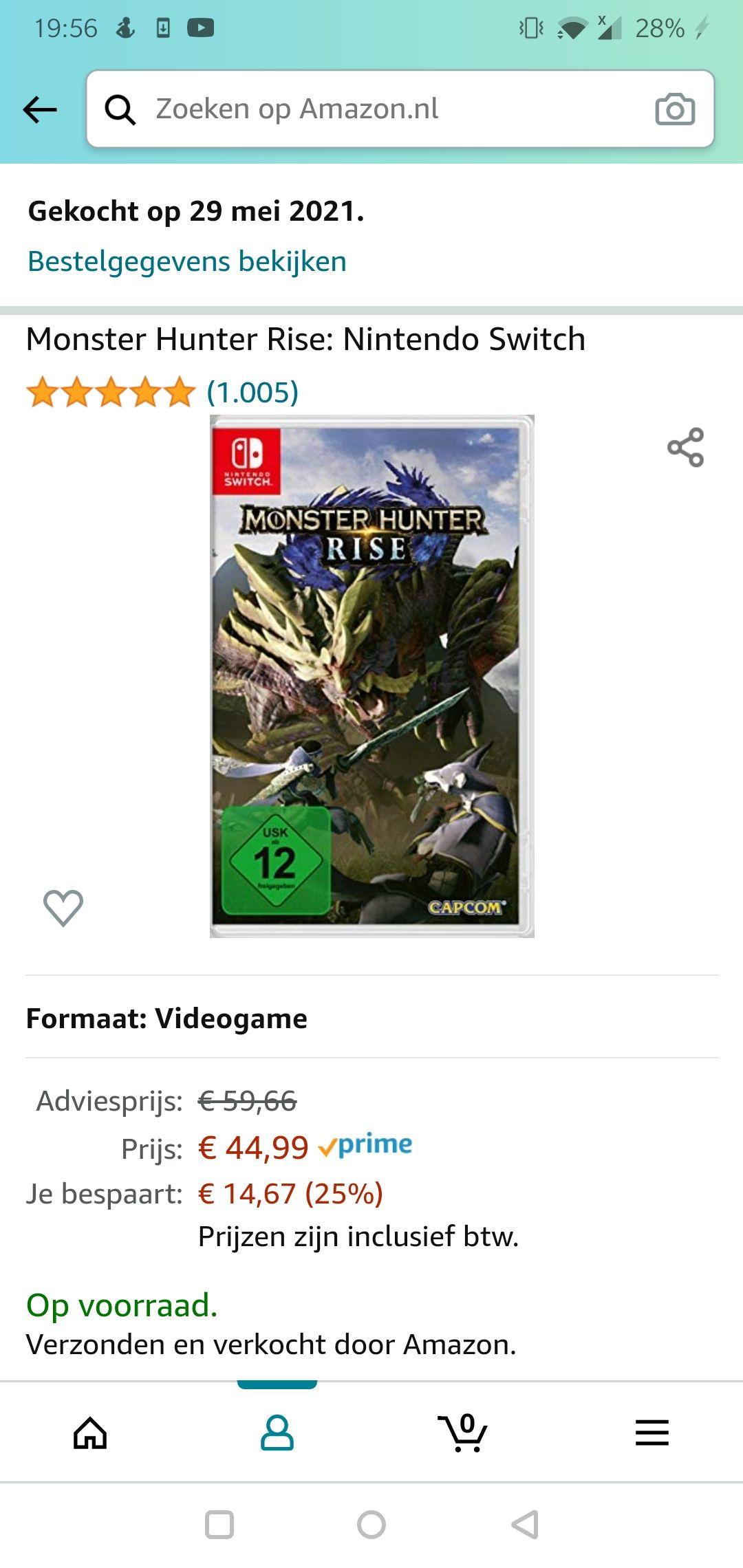 Switch Monster Hunter Rise [Amazon prime]