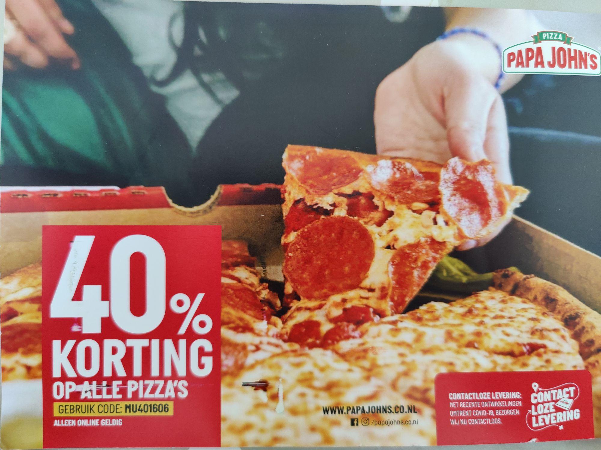 Papa John's pizza 40% korting