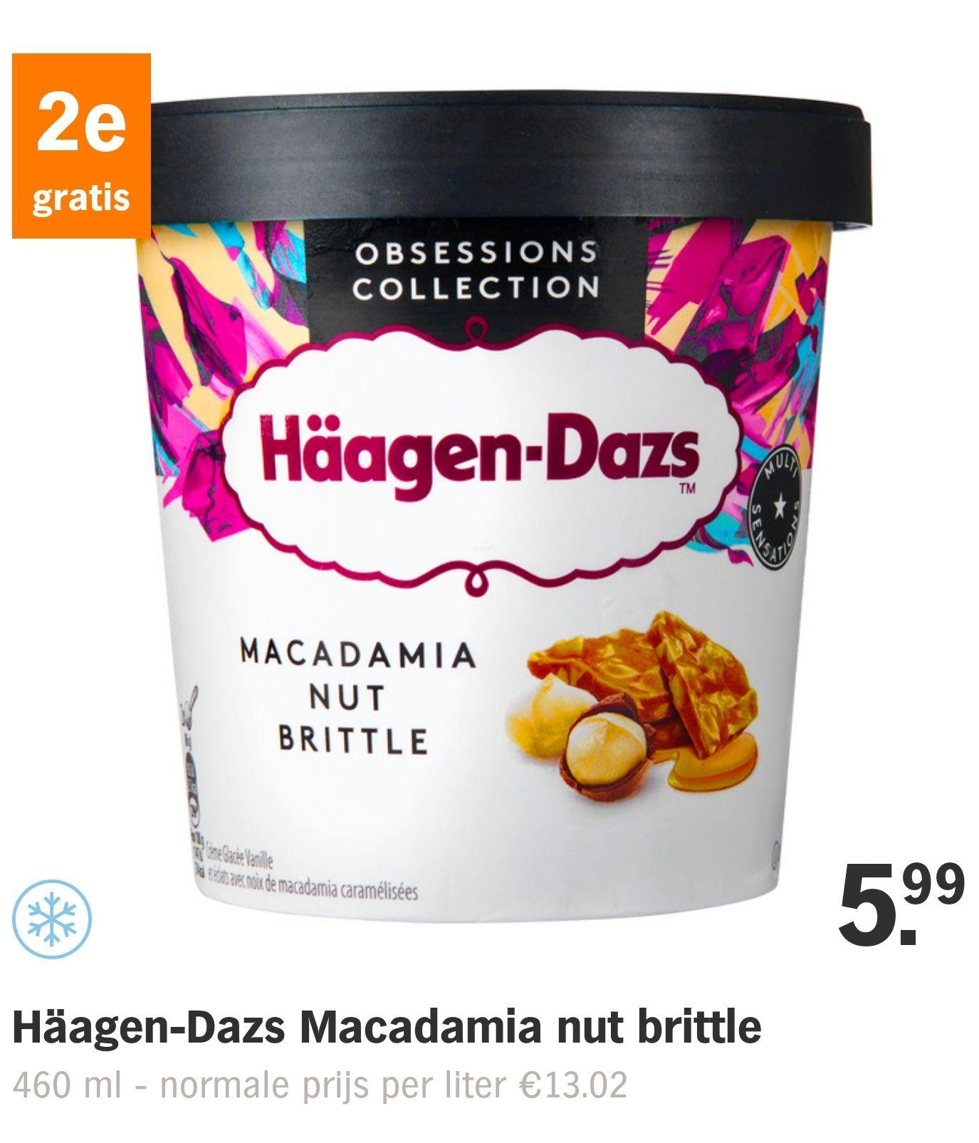 AH - Häagen Dazs ijs 2e gratis. €5,99 per 2 stuks.