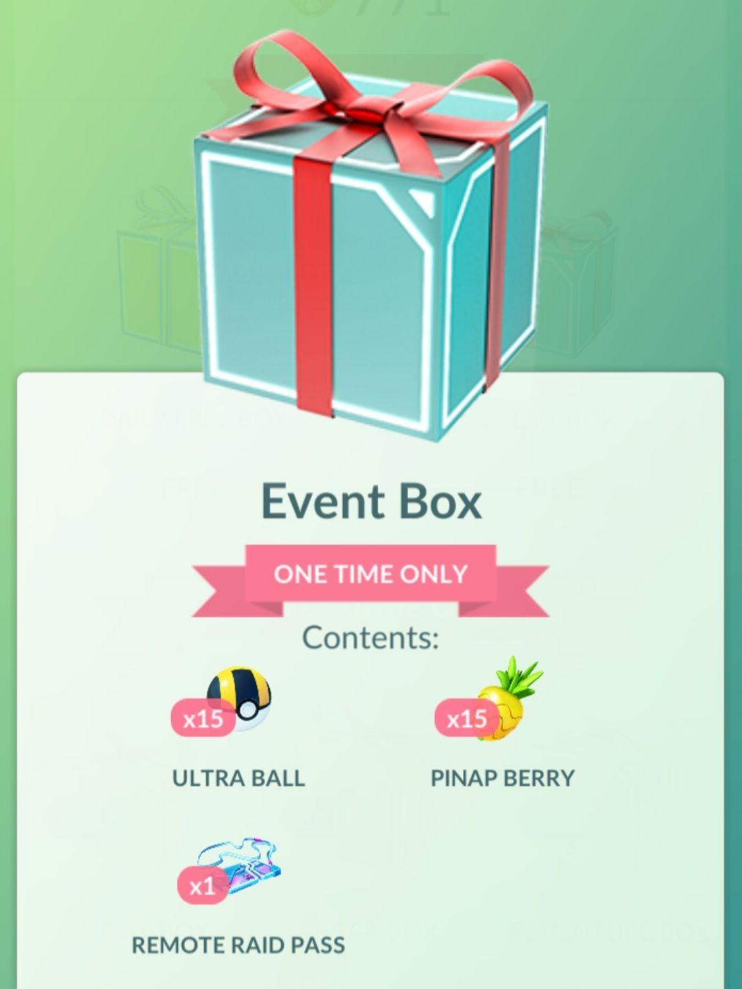 Gratis Pokemon GO Event Box!