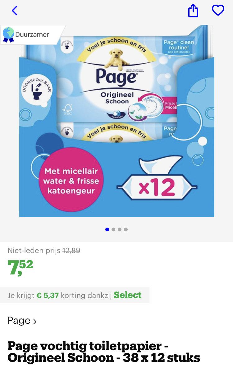 [bol.com select deal] Page vochtig toiletpapier - Origineel Schoon - 38 x 12 stuks €7,52
