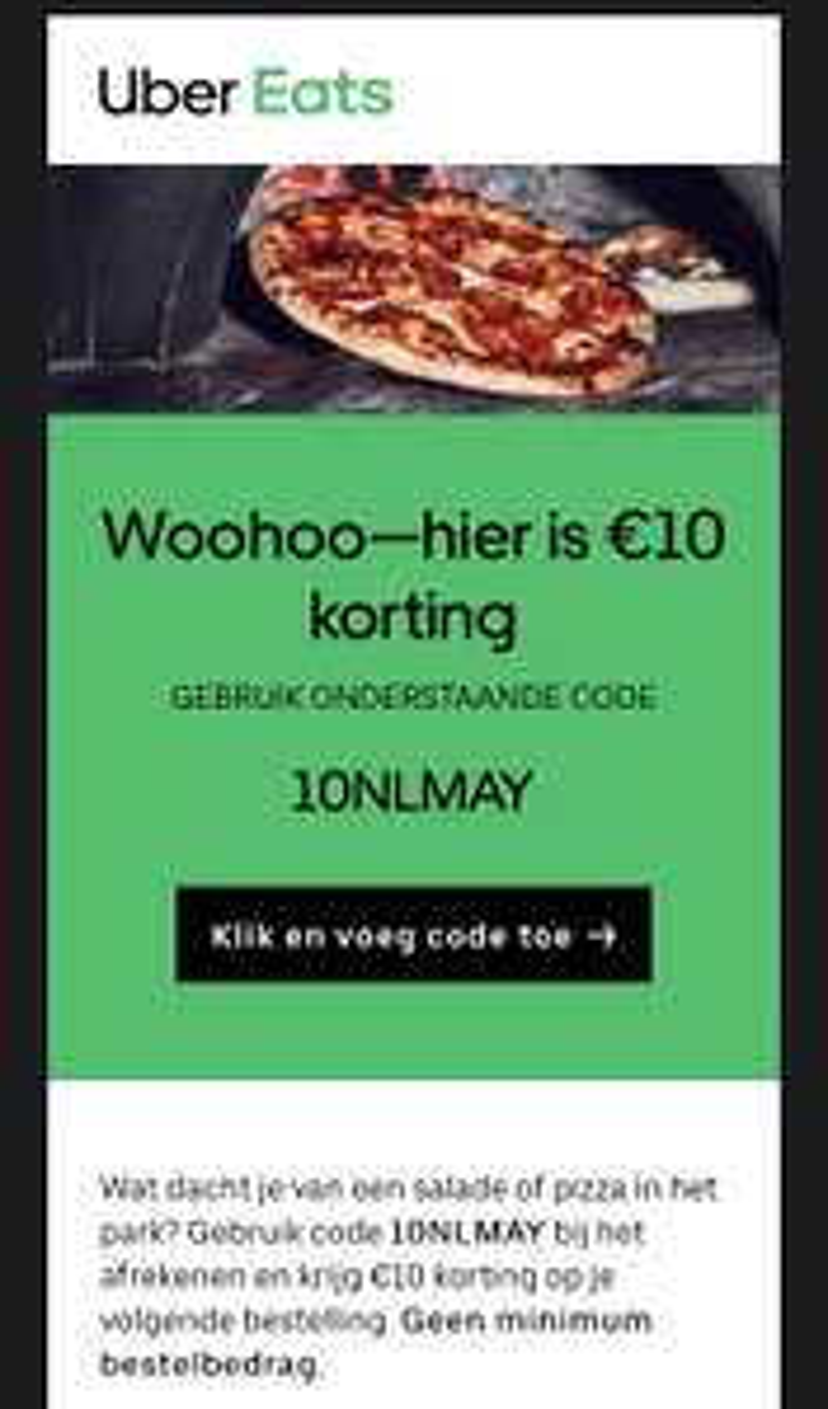 €10 korting UberEats