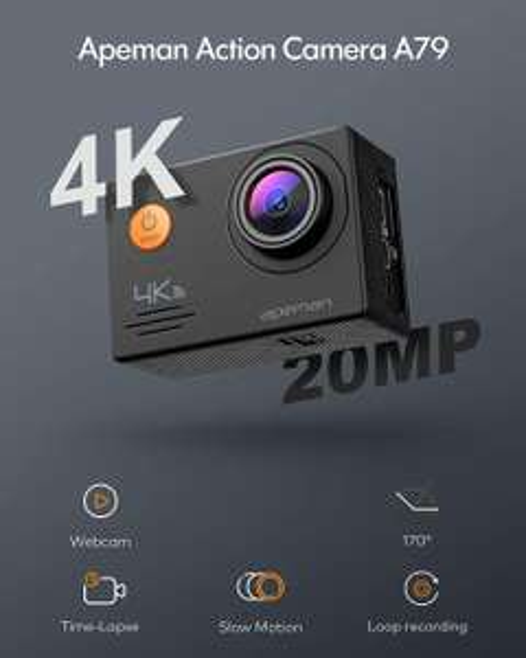 APEMAN Action Cam 4K WiFi 20MP waterdichte 40M onderwatercamera met microfoon en afstandsbediening (A79)