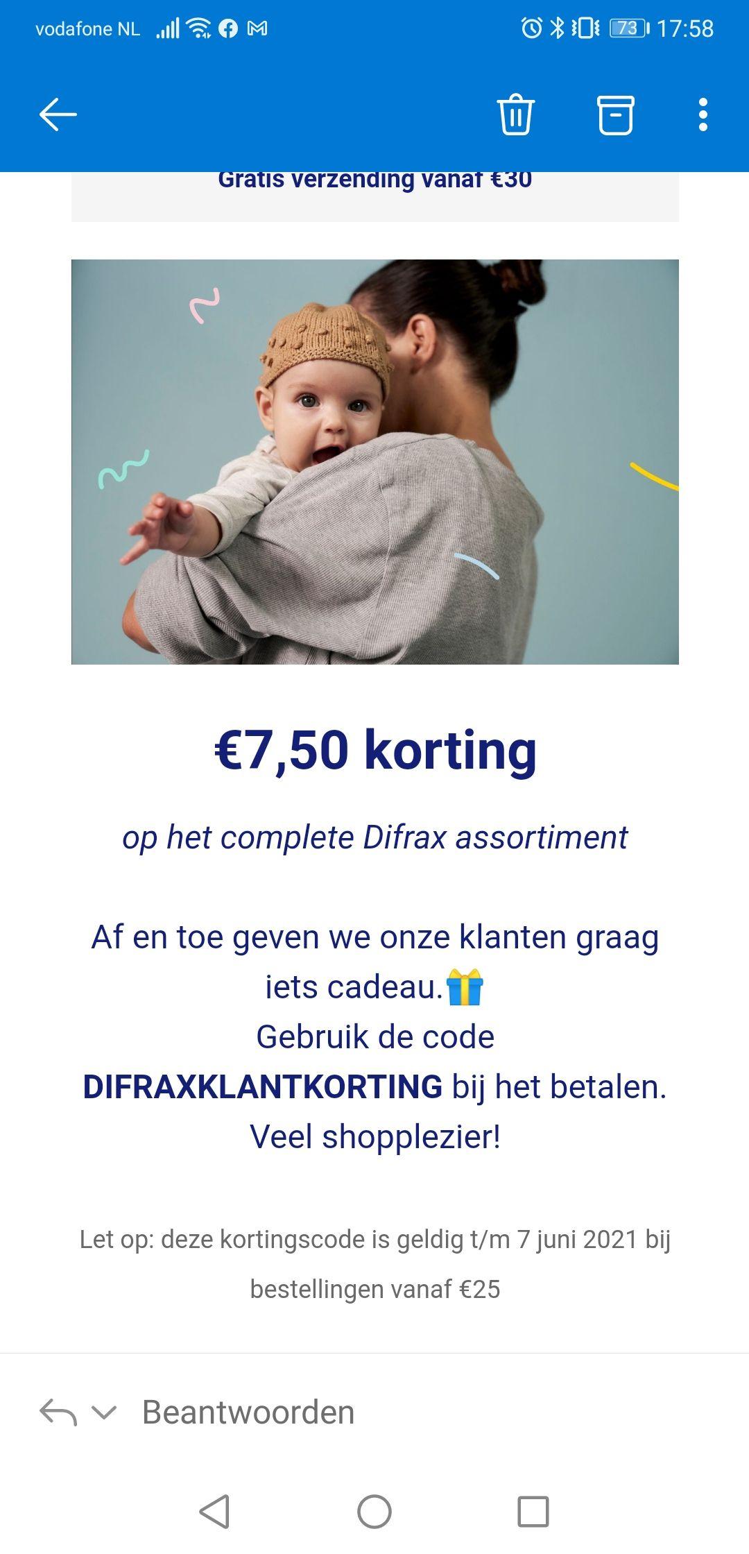 Difrax €7,50 bij besteding vanaf €25