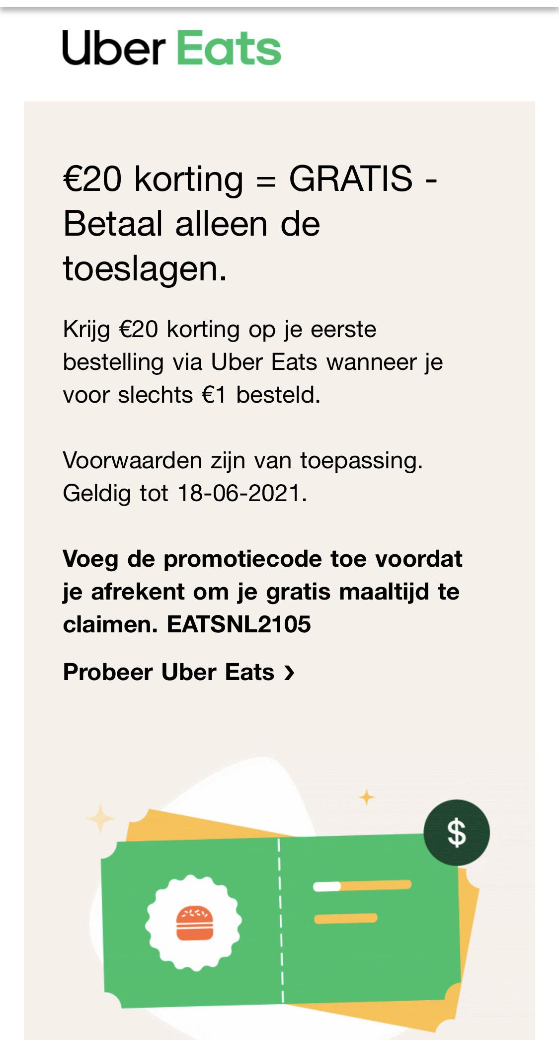 €20 korting @Uber eats - Betaal alleen de toeslagen.