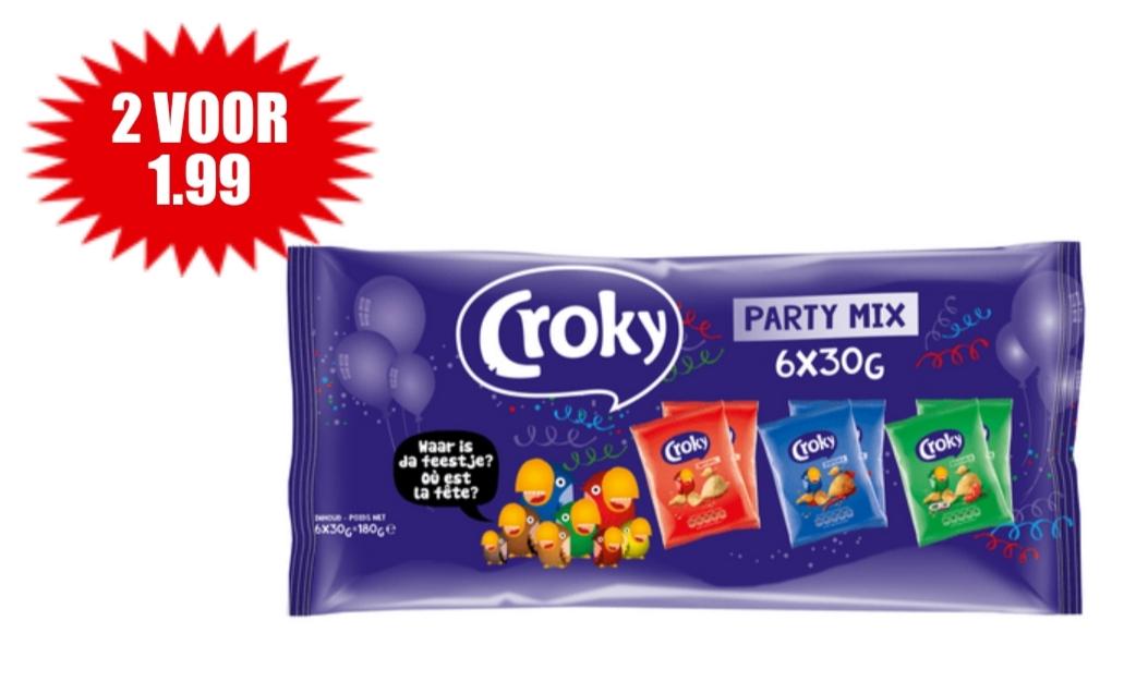 Croky Party Mix chips 2x voor €1,99 bij Dirk