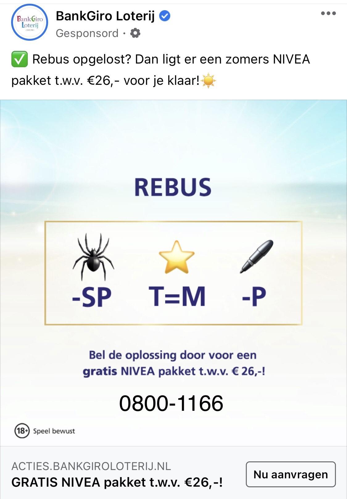 Gratis Nivea pakket twv €26,- bij doorgeven oplossing