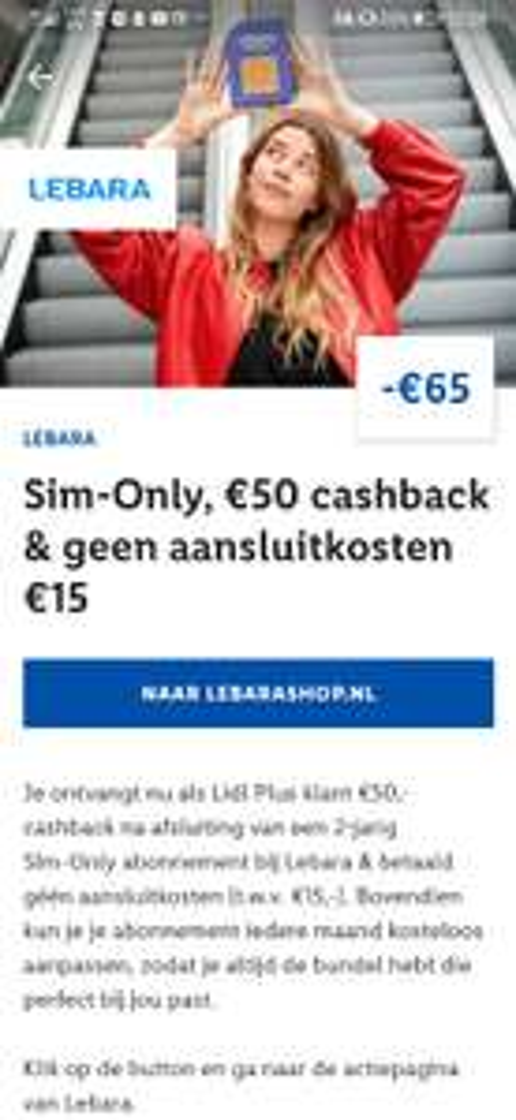 Sim-only Lebara met €50,- cashback @ Lidl Plus app