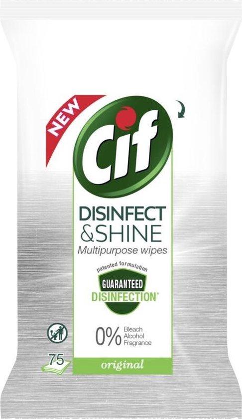 [bol.com select deal] Cif wipes Desinfectie Schoonmaakdoekjes - 5 x 75 doekjes