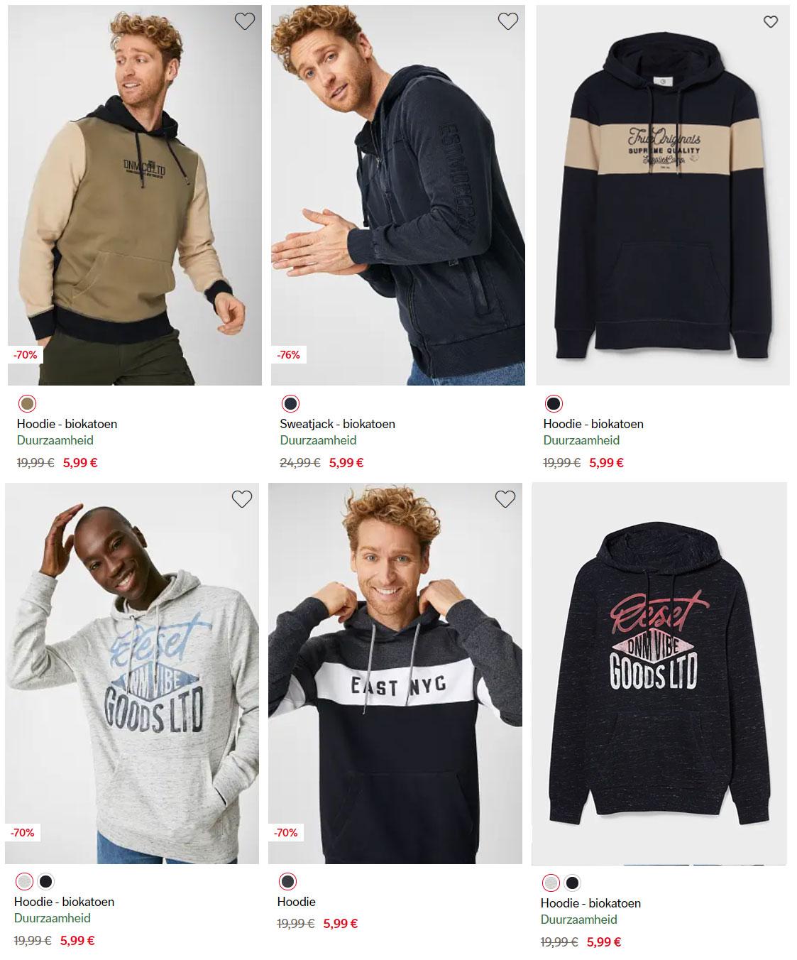 Heren hoodies nu €5,99 [eerst €7,99 van €19,99]   + 10% extra korting